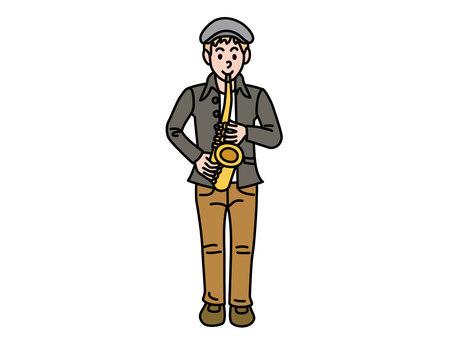 젊은 색소폰 연주자