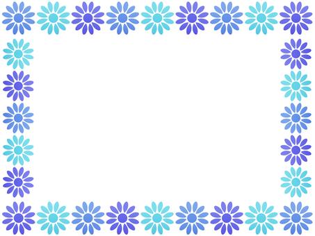 お花のフレーム3 ブルー系