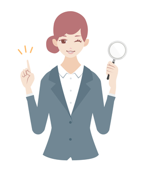 Woman with magnifying glass (in suit)