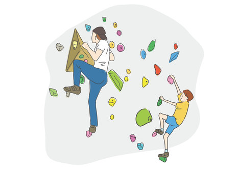 Parent and child doing bouldering