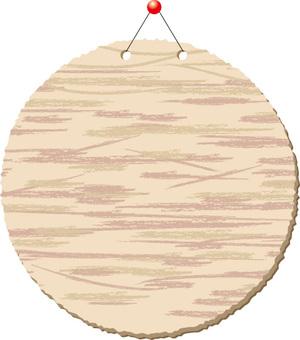 Wood grain signboard _ circle