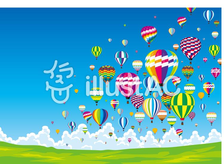 高原 気球のイラスト