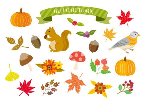 秋の大人かわいいイラストセット