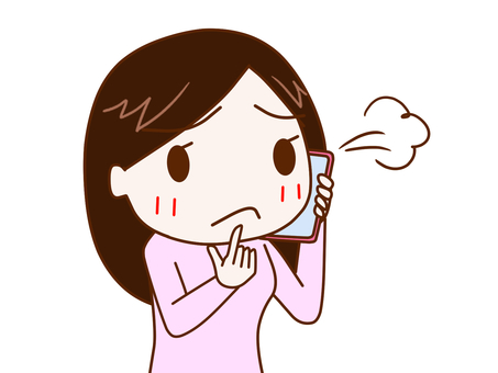 Woman 2 talking while sighing on a smartphone