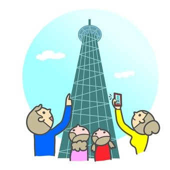 Family watching the Sky Tree