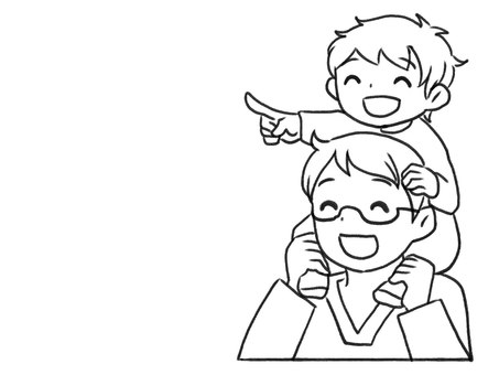 [Black and white] Parents and children who are shouldering [Line drawing]