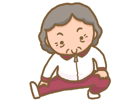 Grandmother doing stretching leg exercise