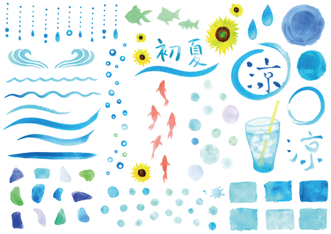A cool blue watercolor material