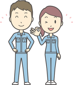 Male and female set worker-008-whole body