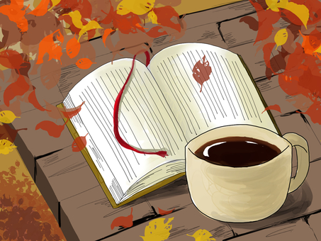 Reading autumn coffee break