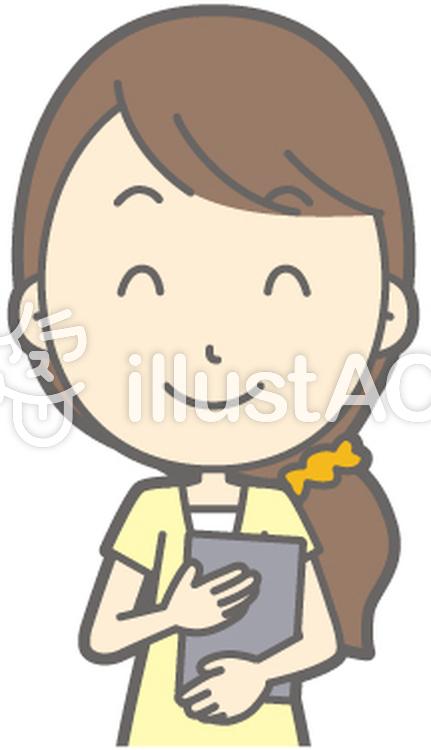 女性半ズボン-笑顔ファイル-バストのイラスト