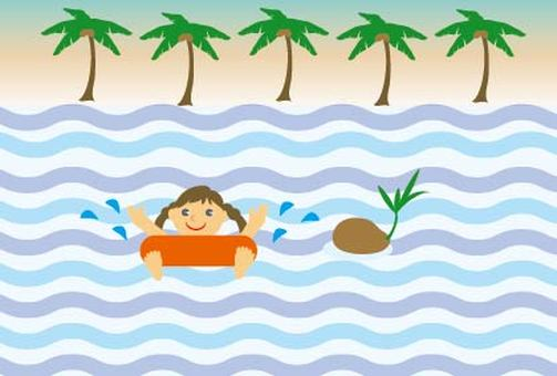 Children's palm trees and seas going to summer vacation swimming