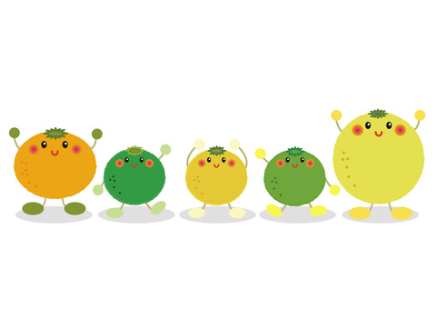 citron_ citrus 4 face-looking characters