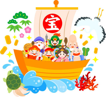The treasure ship where the Seven Lucky Gods ride