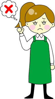 Apron Woman Troubled Face A
