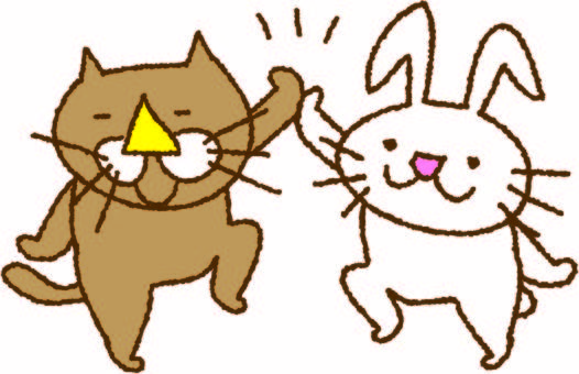 White rabbit and brown cat high touch