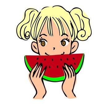 A girl who eats a watermelon