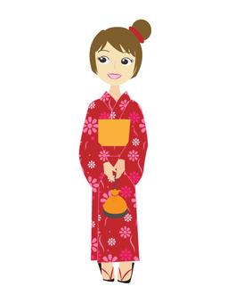 A girl in a yukata