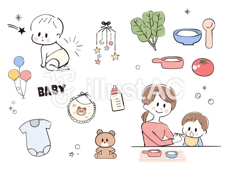 赤ちゃんと離乳食ベビーグッズ のイラスト