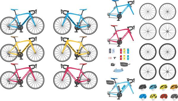 자전거 도로 자전거 세트