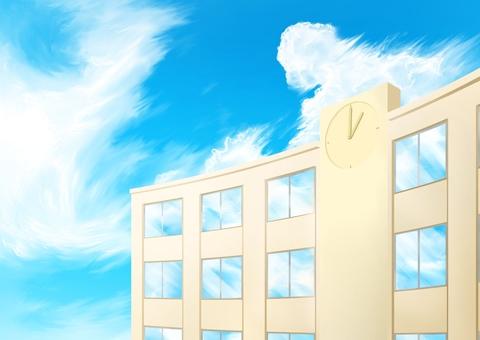 Blue sky and school