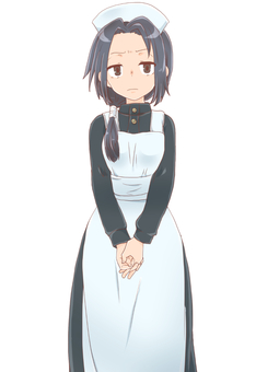 Apron dress girl standing picture (angry)