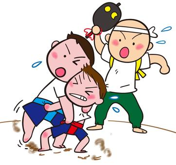 Child and sumo wrestling children's sumo wrestling