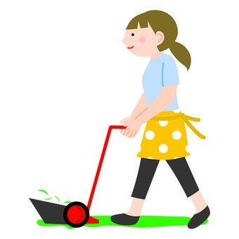 A woman using a lawn mower