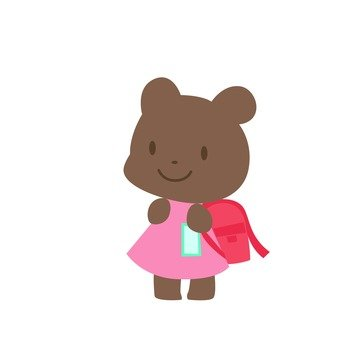 A bear carrying a school bag (girl)