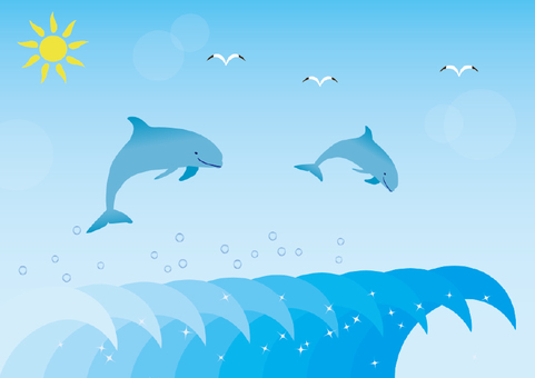 Illustration of the sea and dolphins