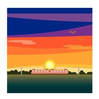 火車和日落