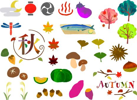 A lot of autumn material illustration set