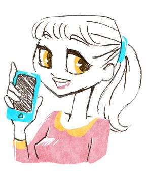 微笑的女士拿著智能手機(顏色)