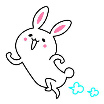 The rabbit is frolic and running excitingly happy