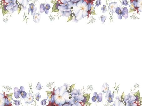 Flower frame 243 - Flower frame of pansy of heaping