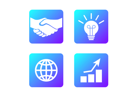 Blue glade business icon material set