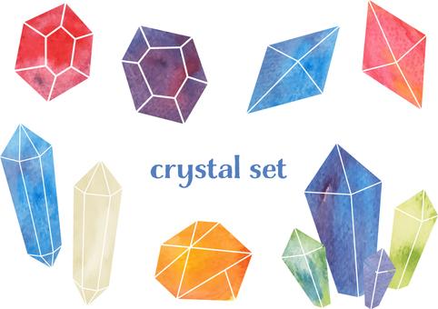 水彩のカラフルなクリスタル素材セット