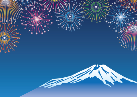 Fireworks and Mount Fuji