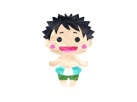 A boy in a swimsuit with a floating ring