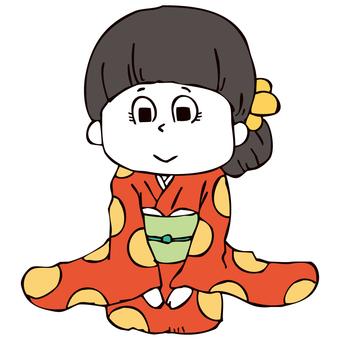 Girls in kimono shape (greeting)