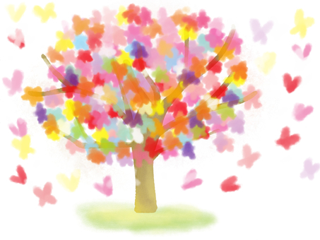 Heart, flower and butterfly tree