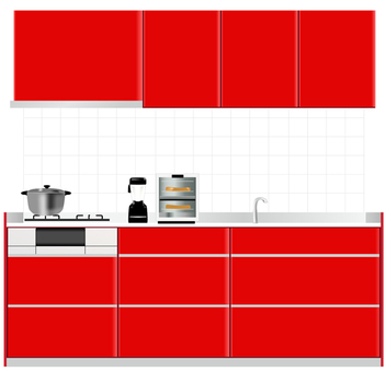 Red system kitchen 1
