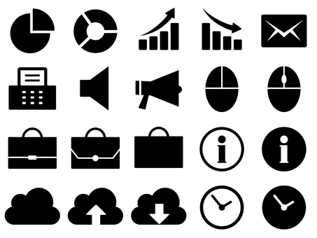 Business icons such as graph, whistle, clock