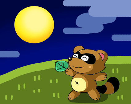 Raccoon on moonlit night