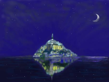 聖米歇爾山神秘的夜晚