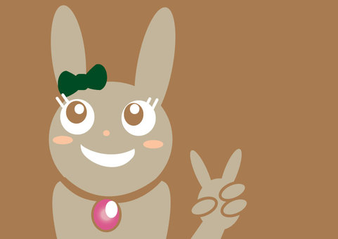 Peace sign rabbit A4