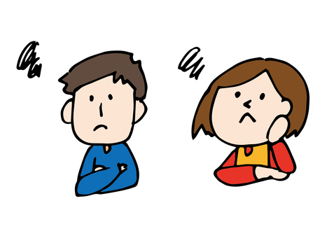 Illustration of worried young couple