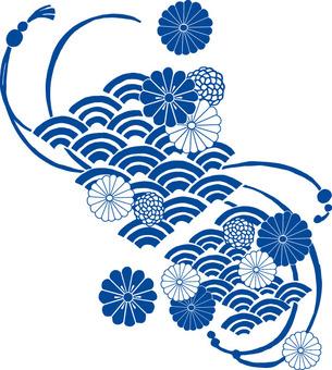 菊波紋(藍)