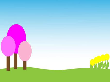 Spring landscape background material