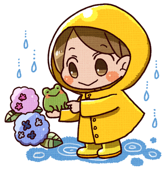 Children and frogs and hydrangeas